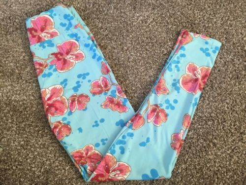 NEW-LuLaRoe-Leggings-Tween-Blue-Pink-Orchid-Blossom-Floral-Flower-Unicorn-HTF