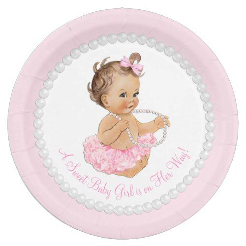 Pink Pearl Ballerina Tutu Baby Shower Paper Plate  sc 1 st  Pinterest & Pink Pearl Ballerina Tutu Baby Shower Paper Plate | Ballerina tutu ...
