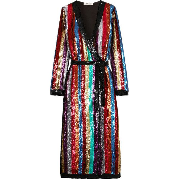 Attico Grace striped sequined georgette wrap dress (€2.470) ❤ liked on  Polyvore featuring