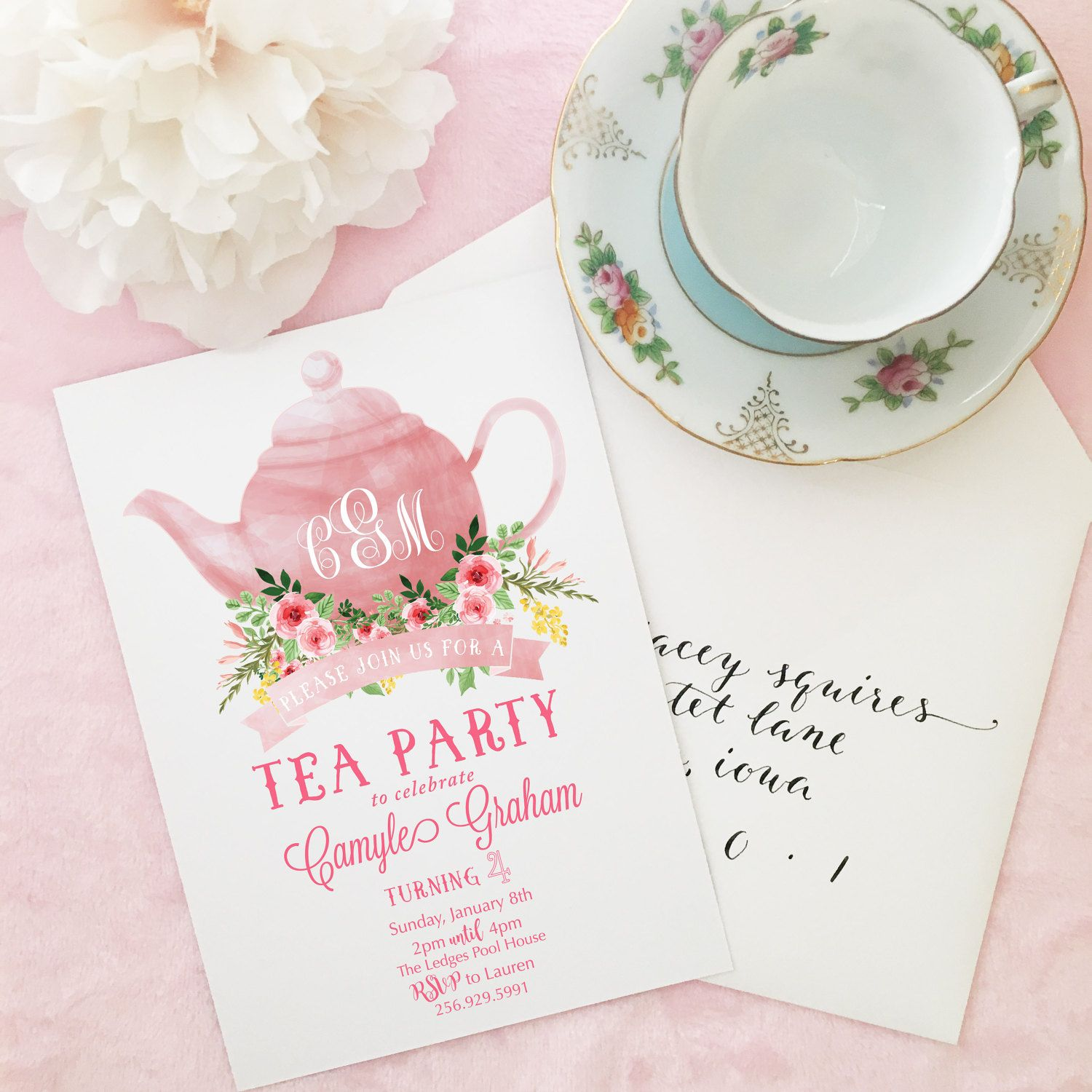 Time for Tea Birthday Party Bridal Tea Tea Party Invitation