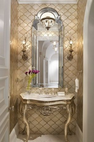 Traditional Powder Room with Undermount sink, flush light, Limestone counters, limestone tile floors, Wall sconce