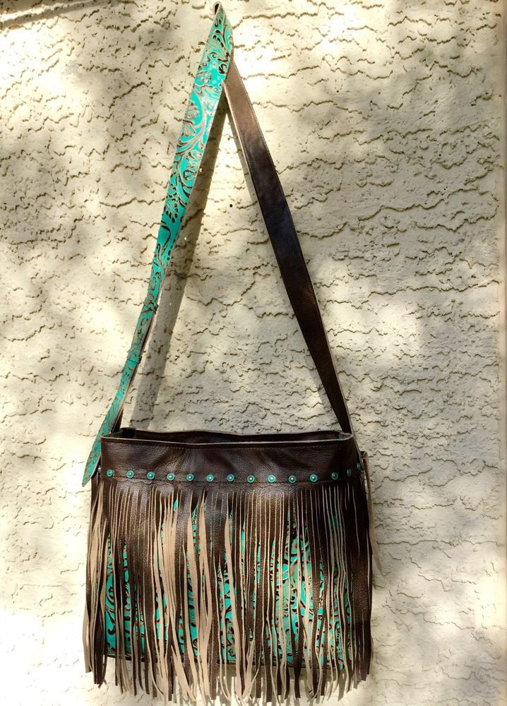 22a7bad9848 Turquoise Tool Western Leather Handbag Cross Body Purse w/ Fringe K ...