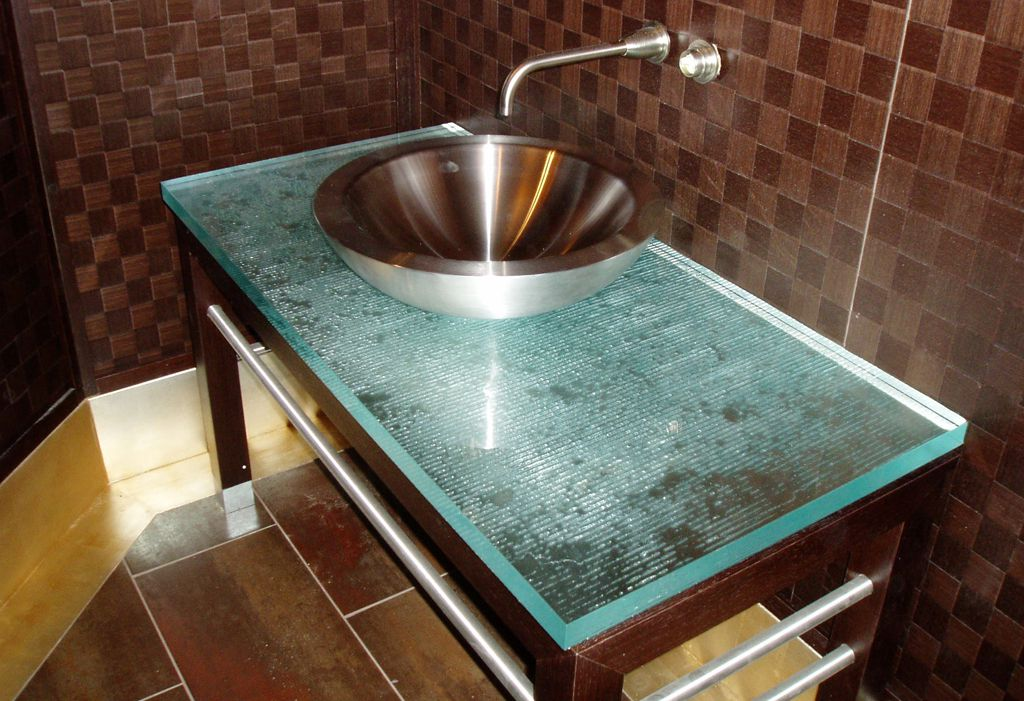 Photos Of Sandblasted glass raised bar top with concrete countertops in a modern kitchen Custom Glass Countertops Pinterest Glass countertops Countertop and