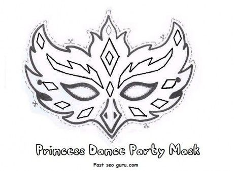 Printable Princess Dance Party Mask Cutouts Coloring In