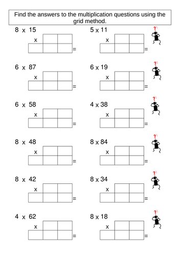 multiplication grid method worksheet generator educational printables ks2 maths math. Black Bedroom Furniture Sets. Home Design Ideas