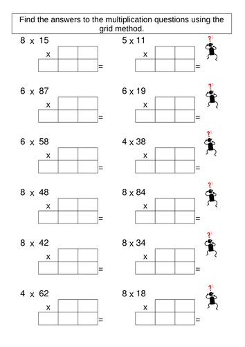 Multiplication Grid Method Worksheet Generator Maths