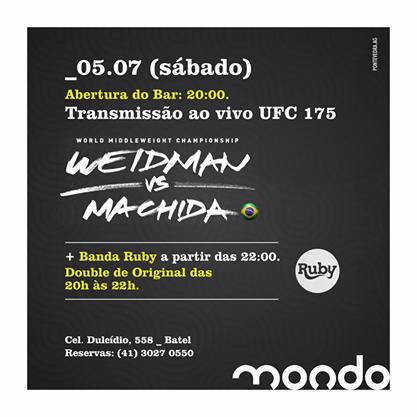 Além de futebol, O Mondo também abre espaço para o MMA! E hoje a noite é de UFC! Aqui você acompanha, ao vivo a luta. Não fique de fora e venha torcer com a gente!