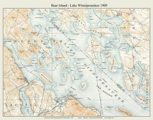 Bear Island Lake Winnipesaukee 1909 Custom USGS Old Topo Map