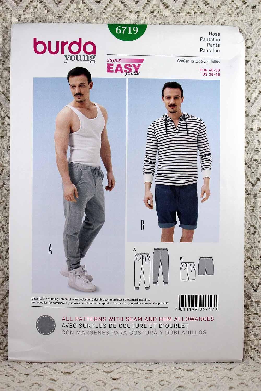 Burda 6719, Men\'s Easy Pants and Shorts Sewing Pattern, Men\'s ...