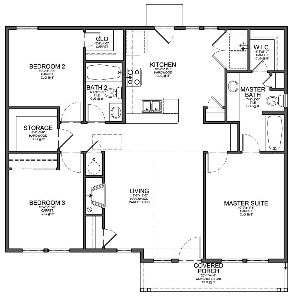 One Story 3 Bedroom House Plans Small House Floor Plans House Blueprints Small House Plans