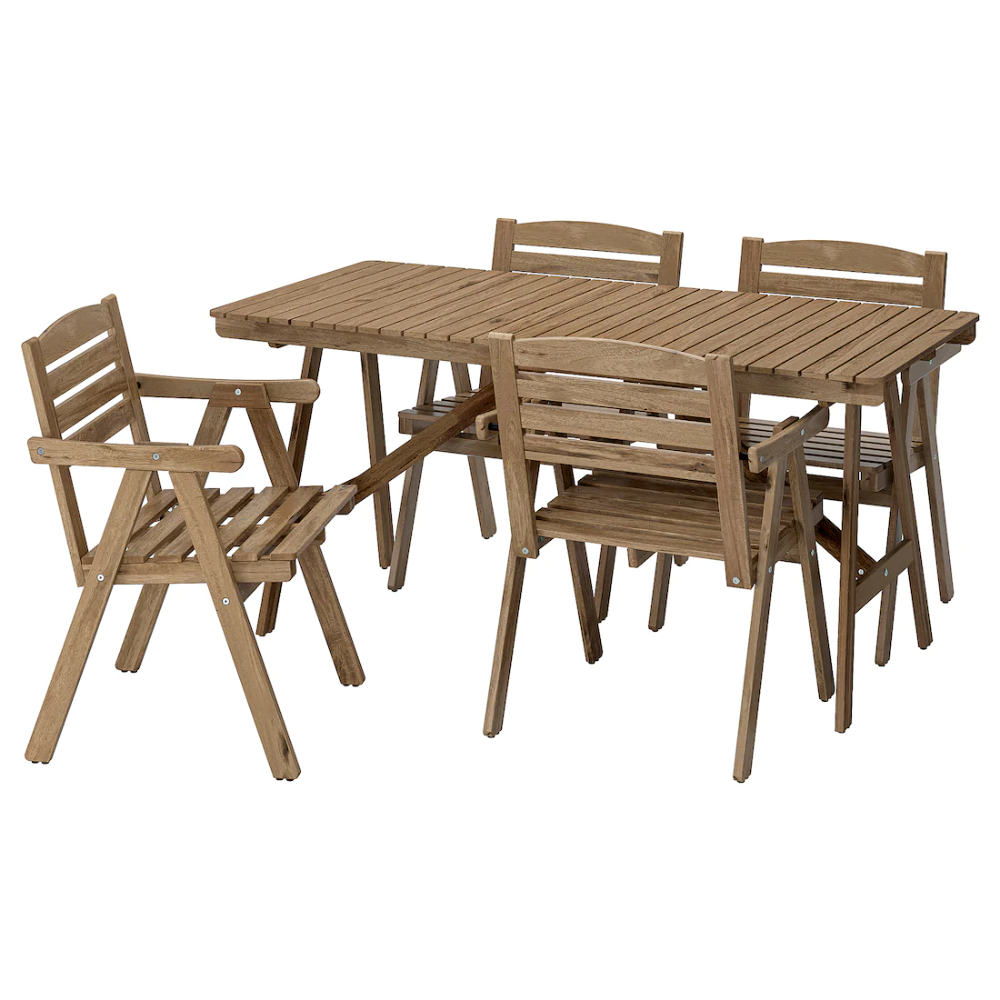 Falholmen Table And 4 Armchairs Outdoor Light Brown Stained Gray Brown Ikea Outdoor Dining Furniture Wooden Outdoor Furniture Outdoor Tables And Chairs