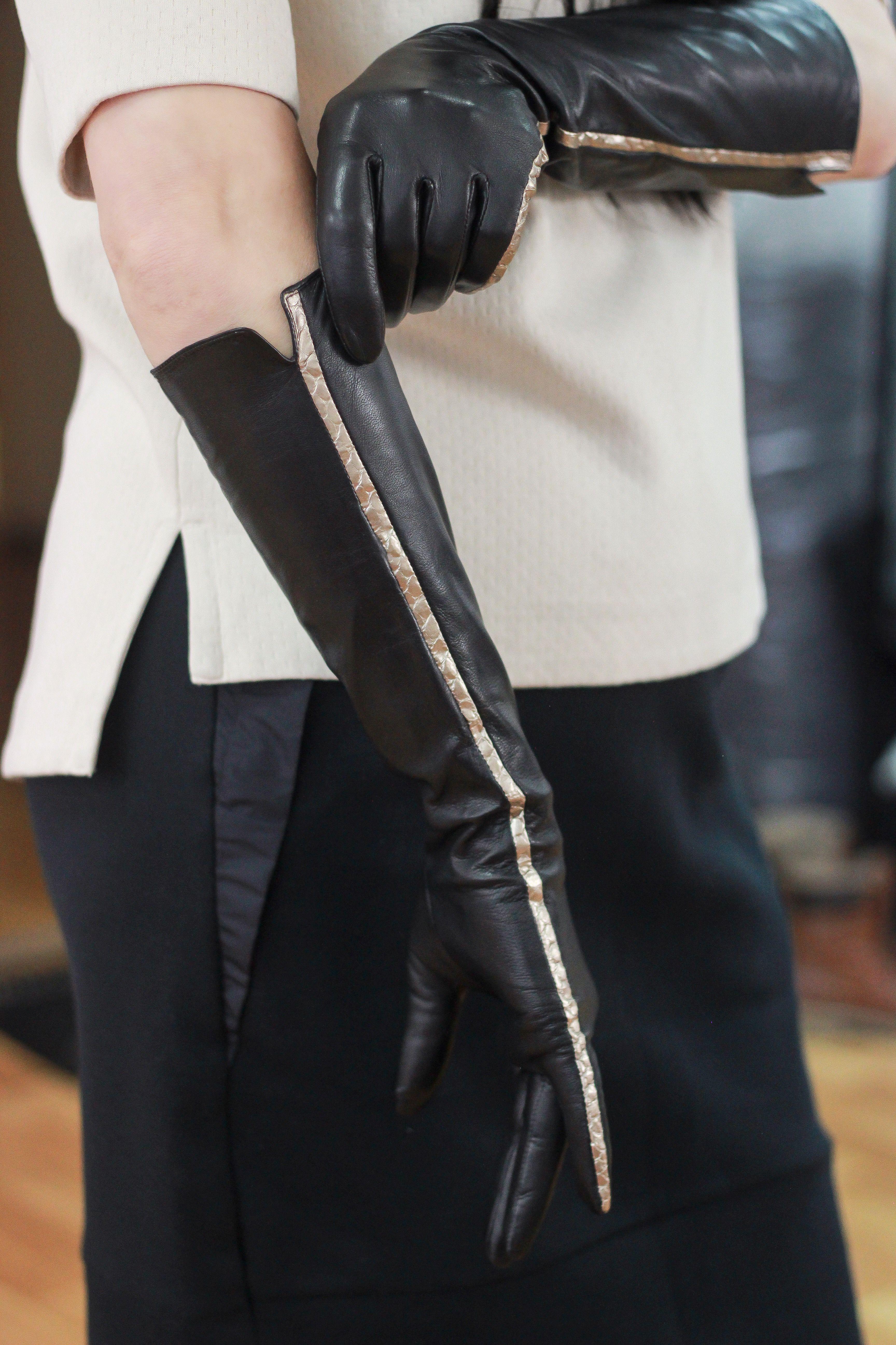 60cm Full Sleeve Under Arm Genuine Leather Runway Fashion Noir Mourn Opera Glove
