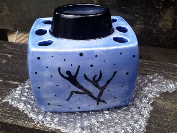 1 Hand Painted Blue and Black White Earthenware Ceramic Toothbrush Holder OOAK by TerraTreasures on Etsy