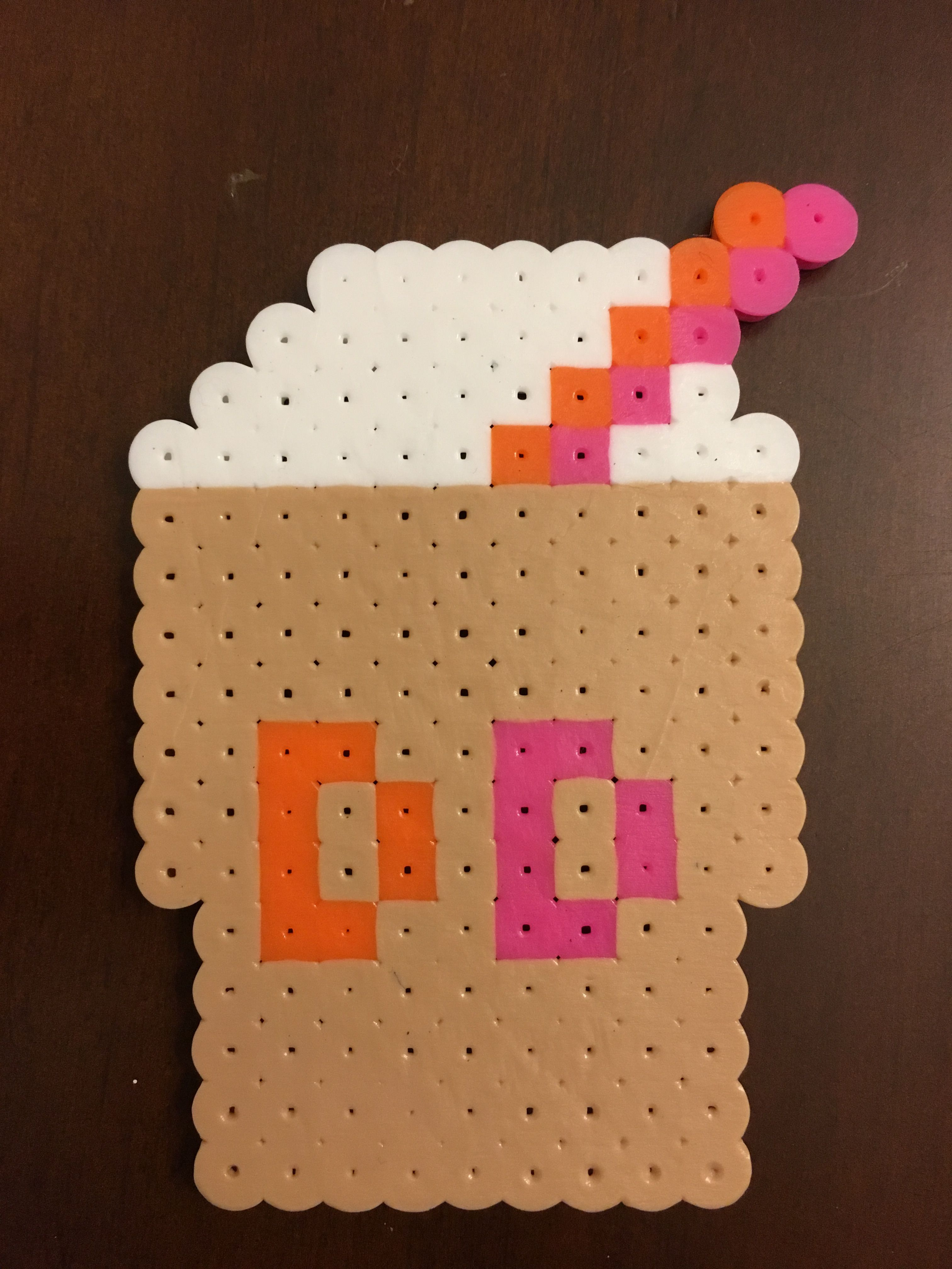 Dunkin Donuts Perler Bead Creation Add A Magnet To The Back For The