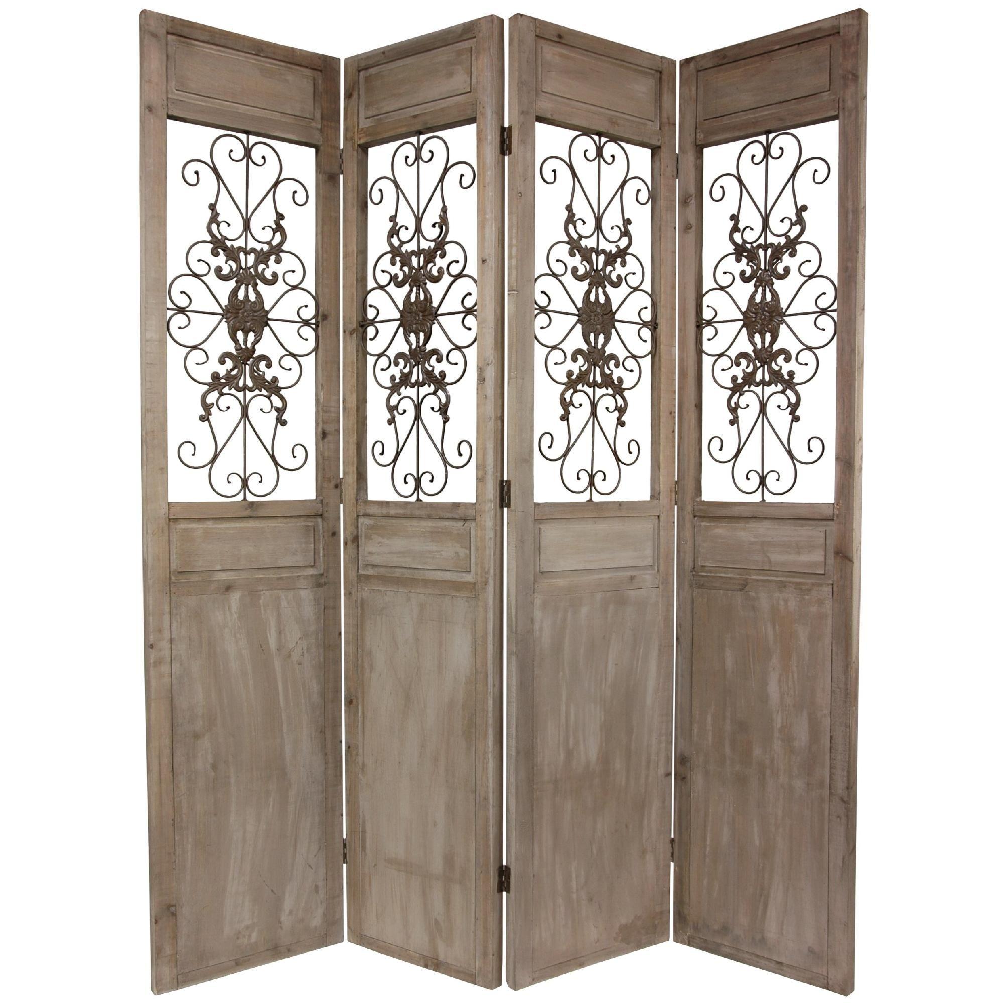 Oriental Furniture 7 Ft Tall Railing Scrolls Room Divider Gray