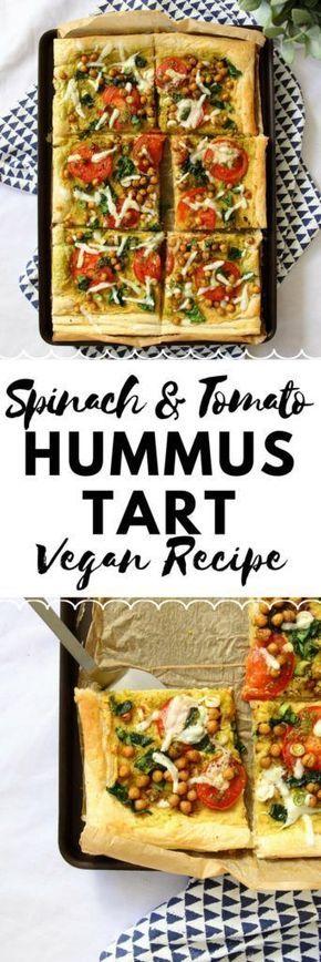 Spinach Tomato Hummus Tart Vegan