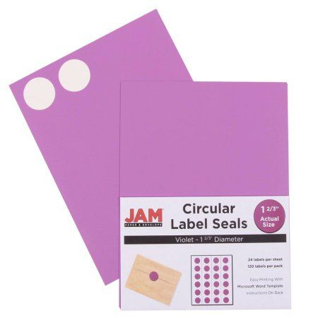 Jam paper round circle label sticker seals 1 2 3 diameter violet purple 120 pack walmart com