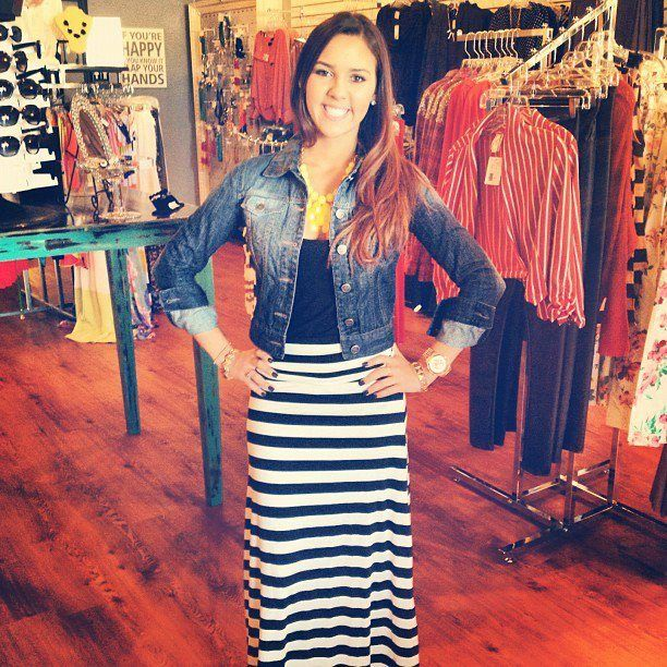 Adorable wide striped black/white maxi skirt with our black tank and dark wash ombre denim jacket! To die for outfit!