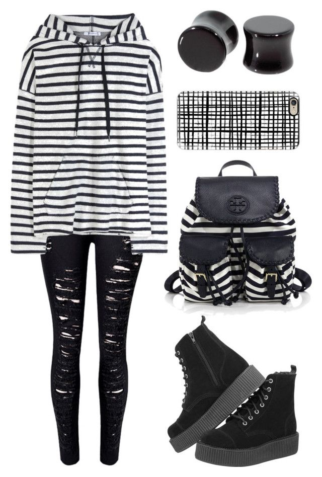 """""""Lines"""" by kitty-cat-kate ❤ liked on Polyvore featuring T.U.K., WithChic, Casetify, Tory Burch, Bomedo and T By Alexander Wang"""