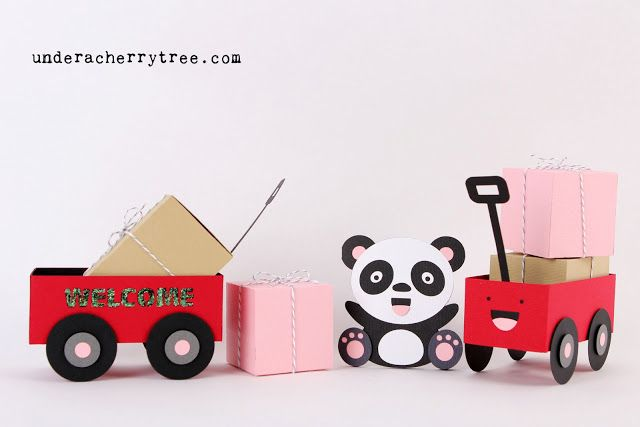 """Free Wagon Cut file {5 free projects: a welcome wagon, a happy-face wagon, 2 """"moving boxes"""", and a Panda shaped card} .ai, .eps, .dxf, .gsd, and .svg file formats"""