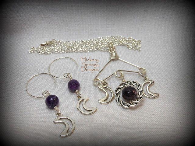 Amethyst triple moon goddess pendant earrings starting at 12 on amethyst triple moon goddess pendant earrings aloadofball Image collections