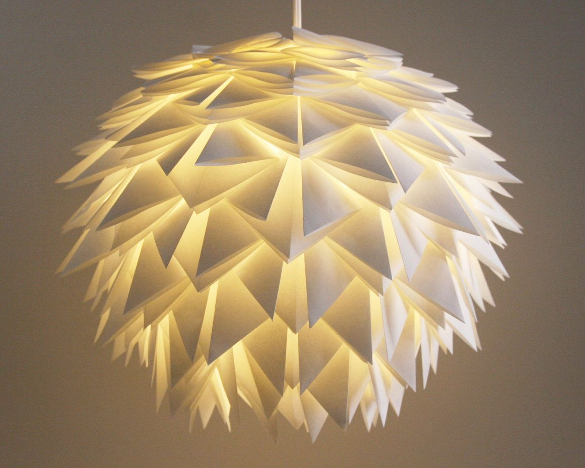 Japanische Lampenschirme The Brooks Pendant Light White Spiky Origami Paper