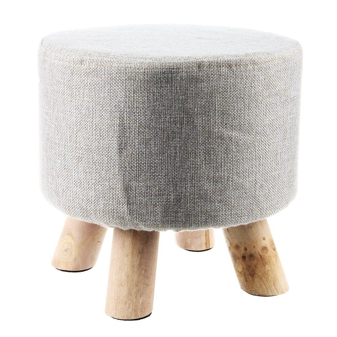 Sodial R Moderner Luxus Gepolsterter Schemel Runder Pouffe Hocker Holz Bein Muster Rund Stoff Gra In 2020 Upholstered Footstool Modern Footstool Upholstered Stool