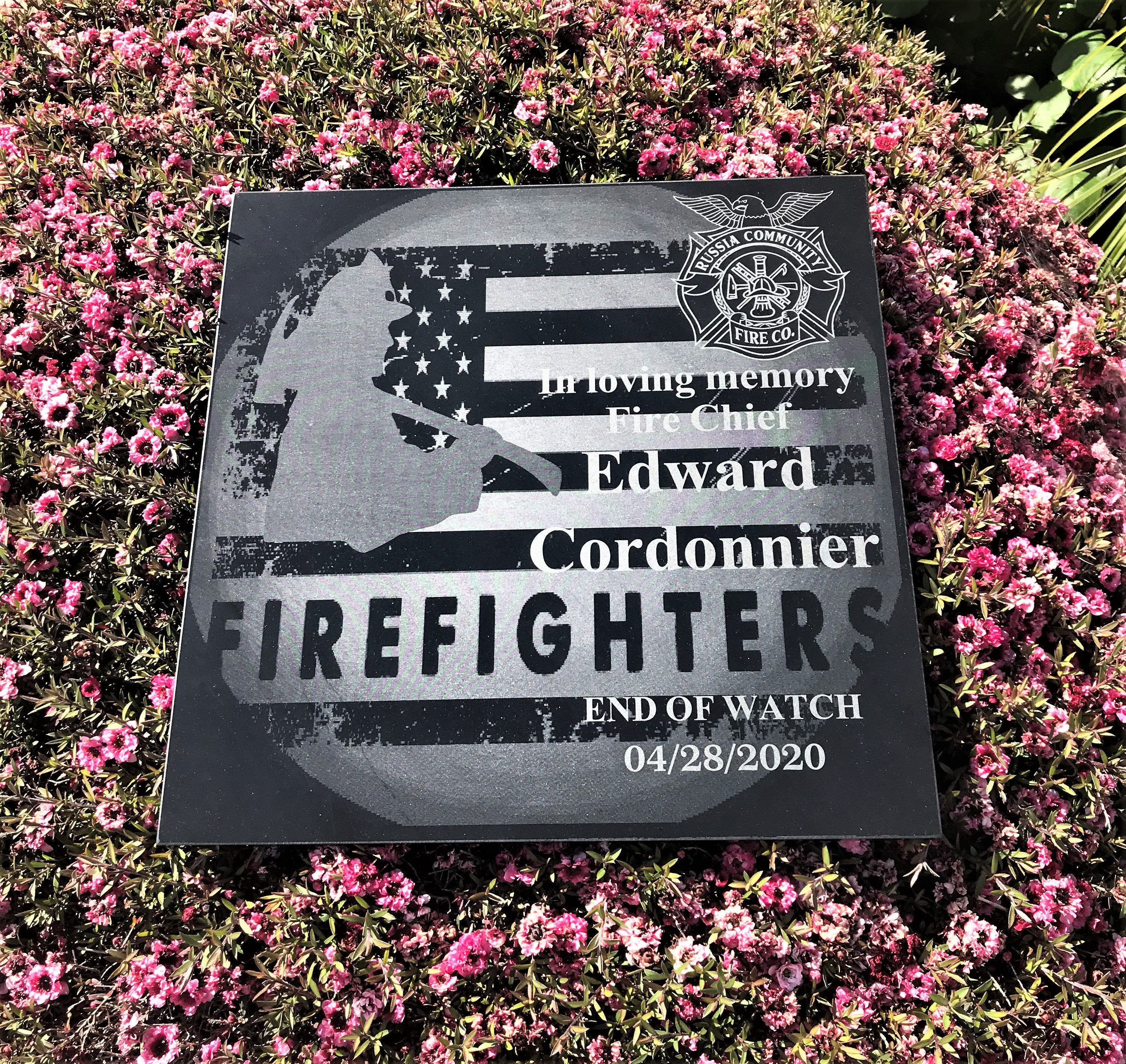 End Of Watch Firefighter Custom Designed Memorial Custom Etsy In 2020 Memorial Stones Firefighter Custom Stone Engraving