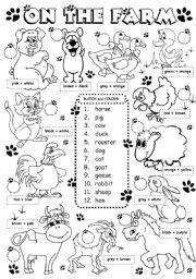 English Exercises: Animal Rhymes | Preschool Activities