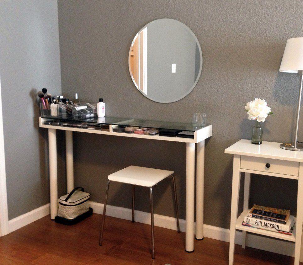 Furniture Custom Corner Makeup Vanity Table With Makeup Storage