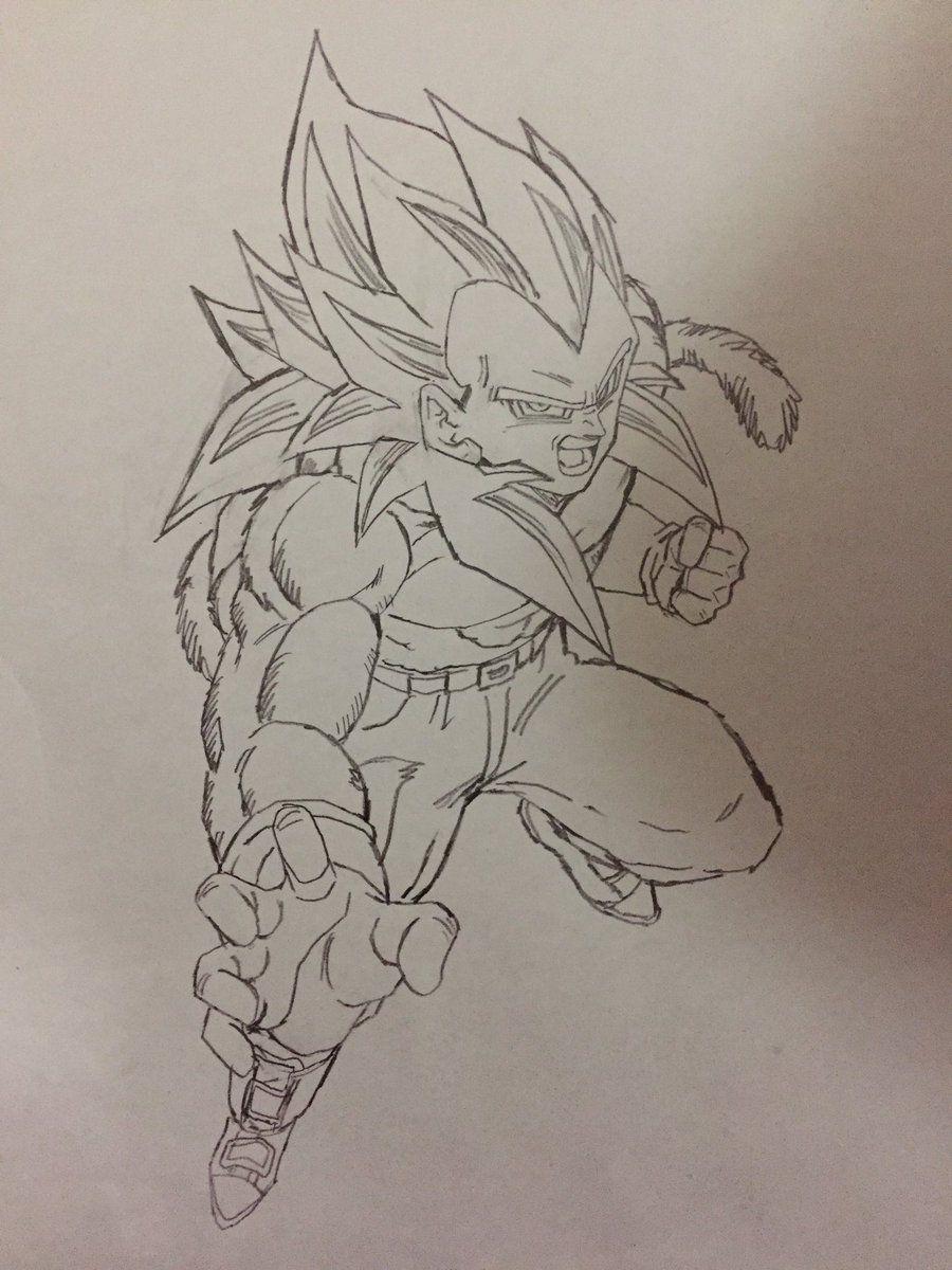 Super Saiyan 4 Vegeta Drawn By Young Jijii Found By Songokukakarot Dragon Ball Super Manga Dragon Ball Artwork Dragon Ball Art