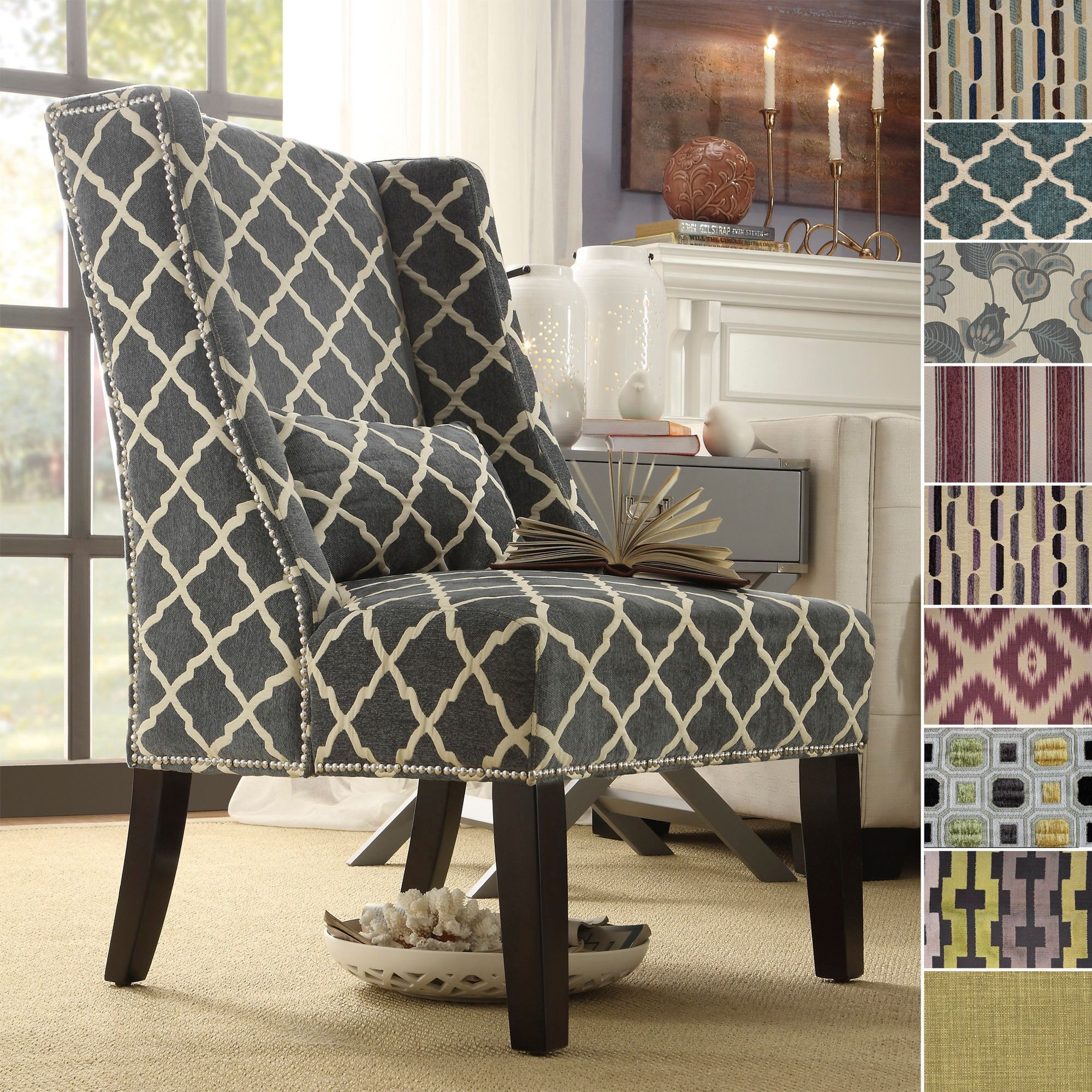 Take a break in this wingback chair from Inspire Q. This comfortable  high-back