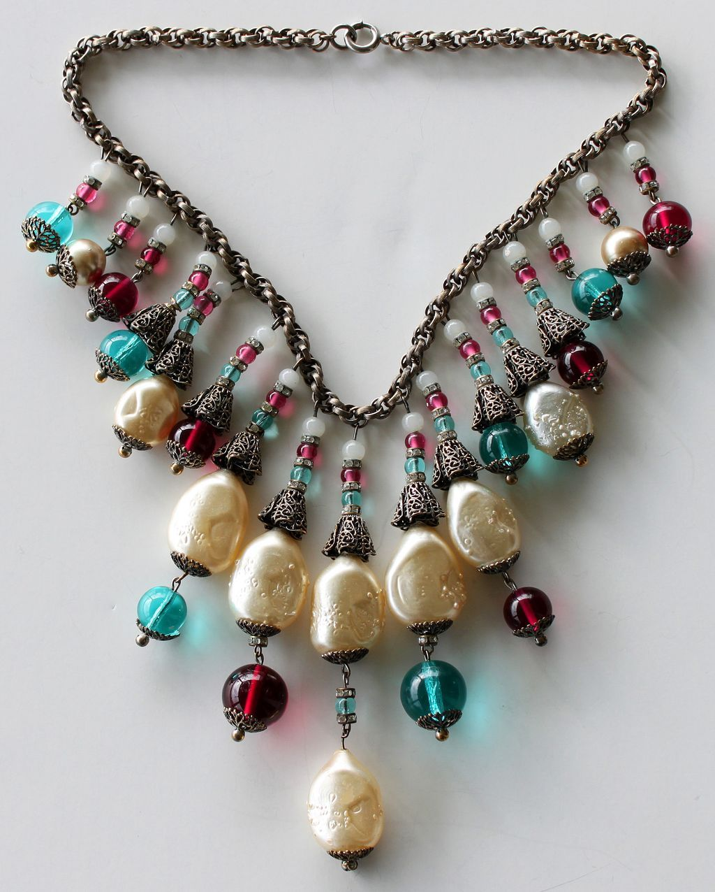 Rare Vintage Miriam Haskell Pearl & Glass Necklace