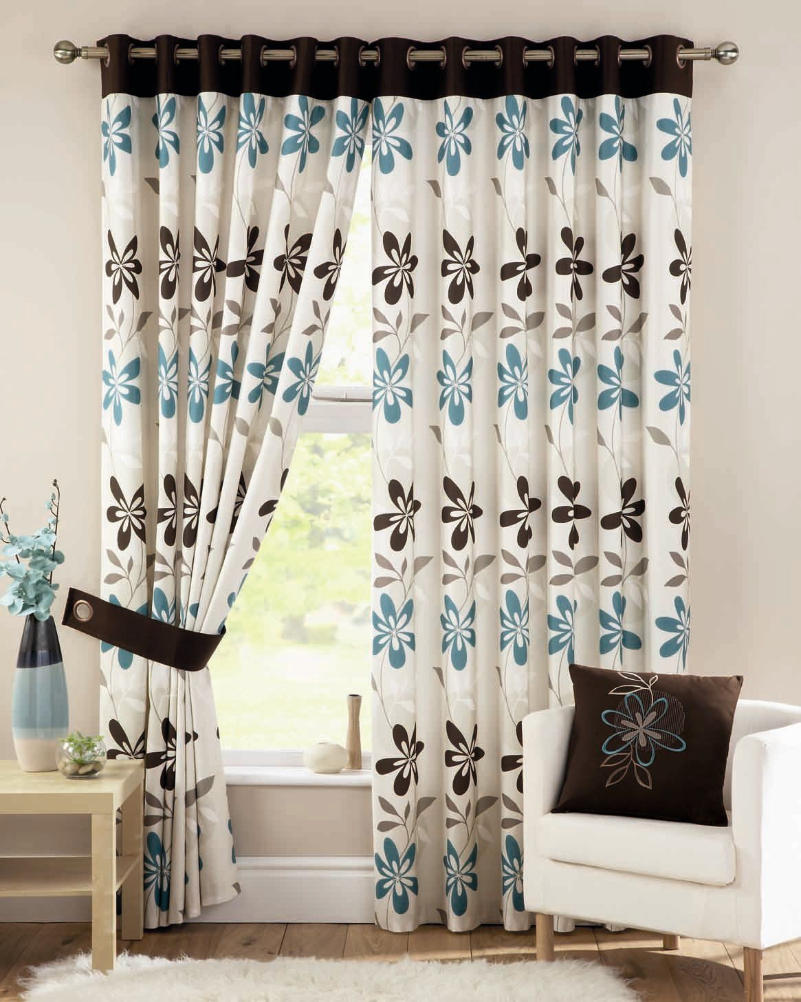 Ariel Teal Readymade Lined Eyelet Curtains