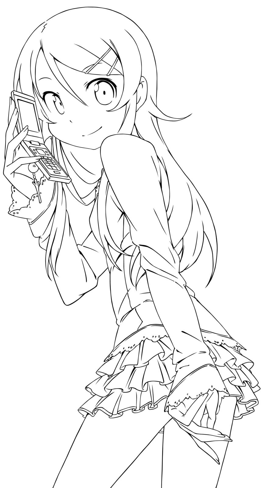 Kirino Kousaka Lineart Coloring Pages Anime Lineart Cute Coloring Pages