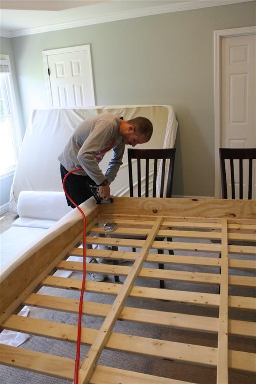 diy build a bed upholstering the platform bedrooms pinterest. Black Bedroom Furniture Sets. Home Design Ideas