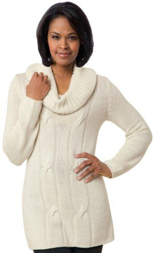Collections Etc - Ribbed Cowl Neck Cable Knit Sweater $14.97 ...