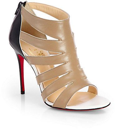 aad410fff830 Christian Louboutin Beauty Leather Sandal Ankle Boots on shopstyle.co.uk