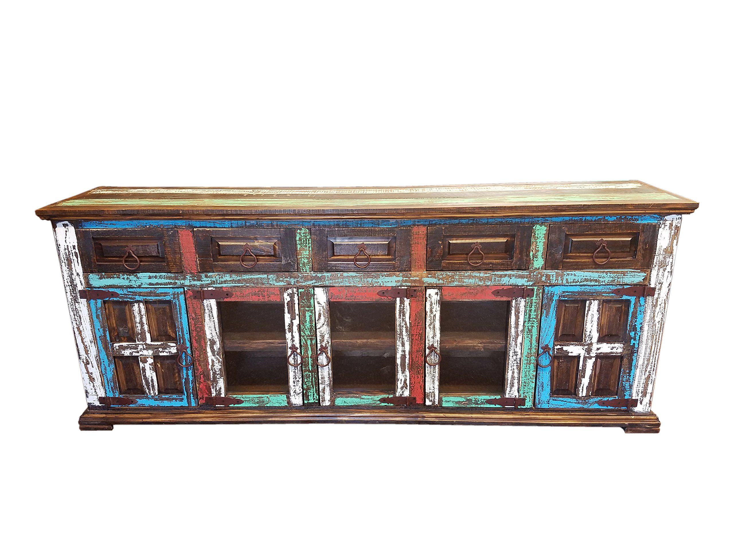 Hi End Rustic Meval Hand Se Tv Stand Buffet 80 Inch Long