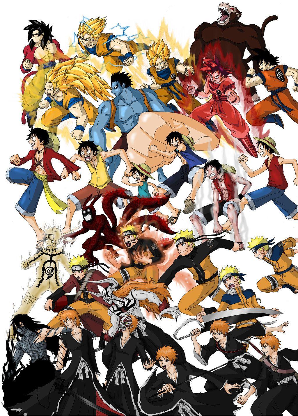 Goku luffy naruto and ichigo evolutions arte de