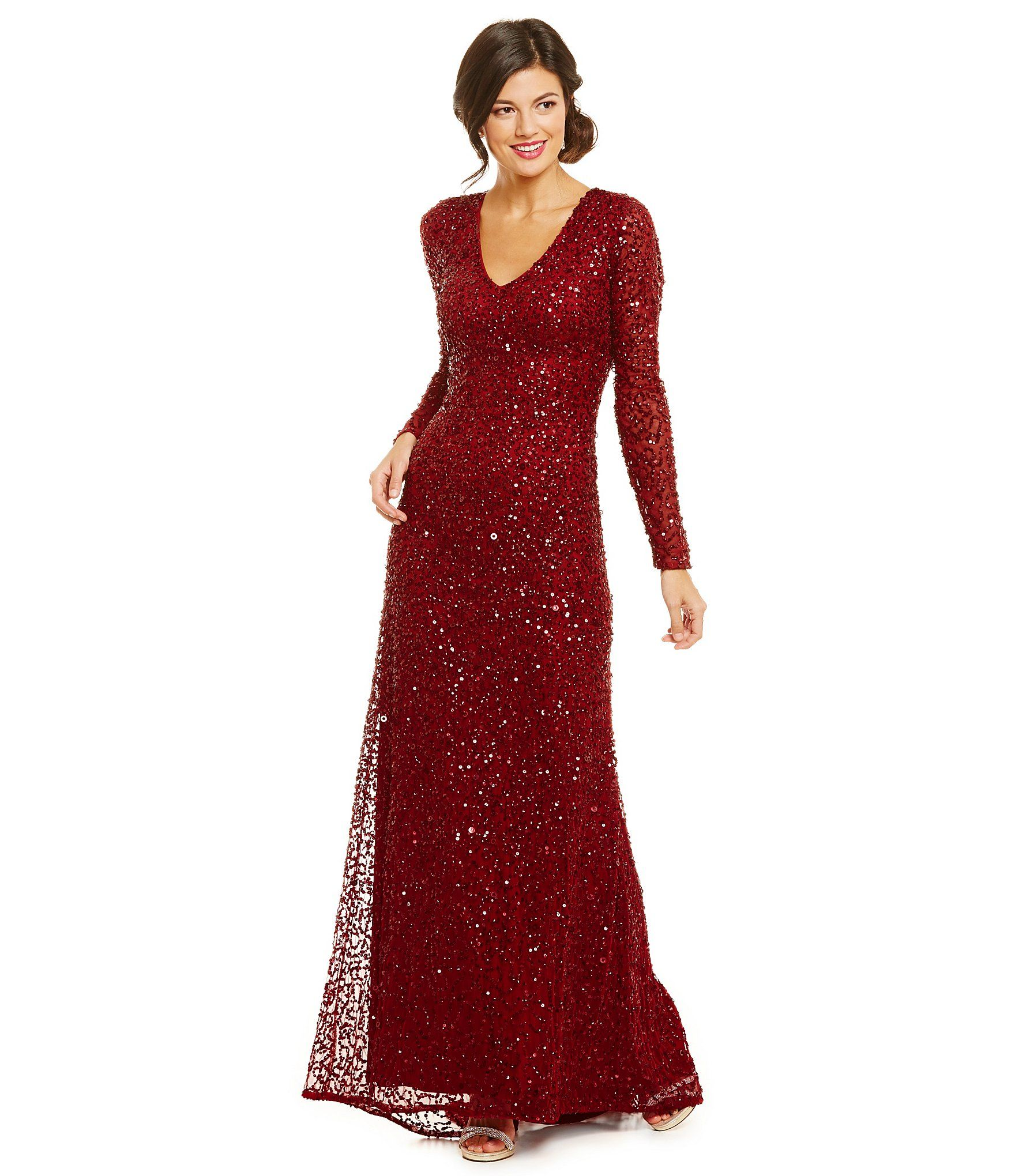 Shop for adrianna papell vneckline all over sequin gown at dillards