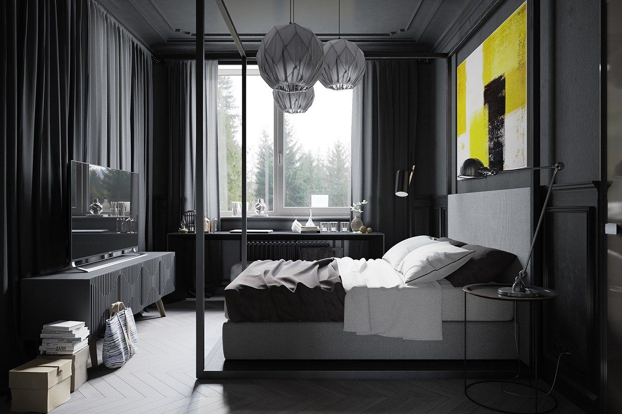 The Bedroom Is Unmistakably Masculine Using A Dark Gray Color Palette To Make Everything Feel Private And Relaxing Abstract Painting Over