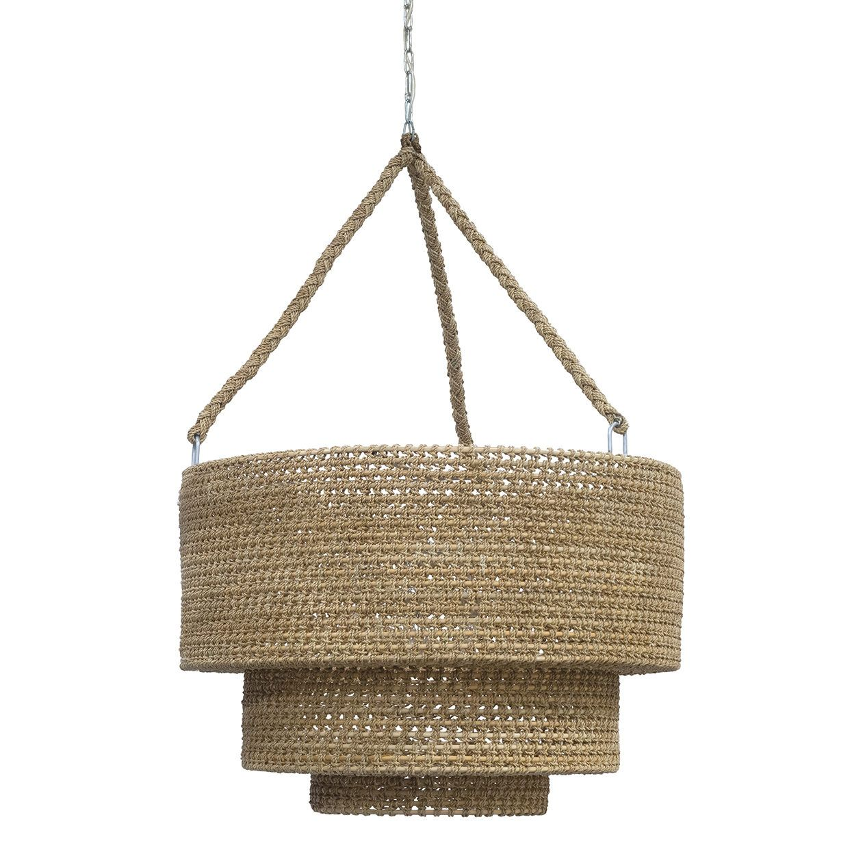 Rope And Rattan Woven Tiered Pendant Plug In Pendant, Three 60 Watt  Candelabra Bulbs Inline