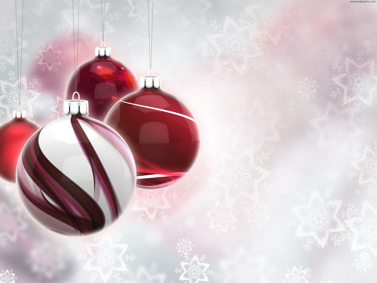 Red And White Glassy Christmas Balls On A Bright Background With