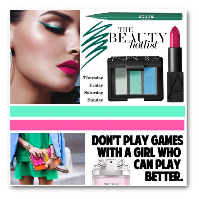 """""""Beauty Look #78"""" by lookat ❤ liked on Polyvore featuring beauty, NARS Cosmetics, Stila, Liis Japan, ferm LIVING, Victoria's Secret, Pink, eyeliner and emerald"""