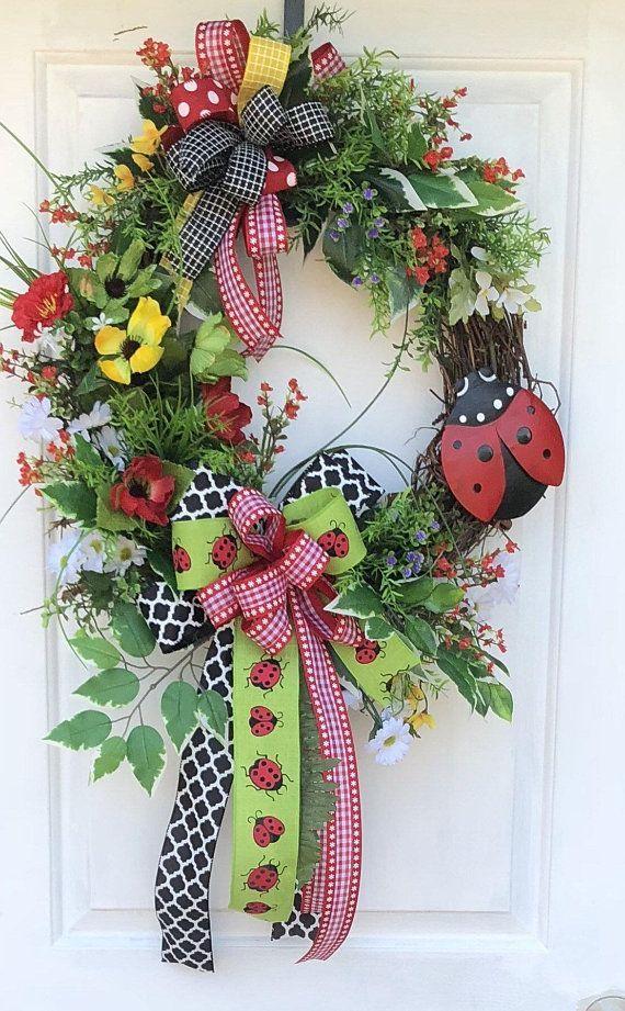 Photo of Lady Bug Wreath, Farmhouse Decor, Summer Wreath, Sunflower Wreath, Cheeky Doors Wreath, Grapevine Wreath, Front Door Wreath, Welcome Wreath – Door Decor