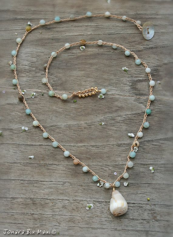 Hawaii Cone Shell Crocheted Layering Necklace by JonaraBluMauiJewelry, $36.00