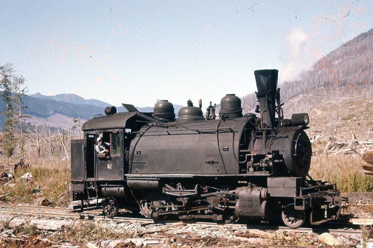 old logging trains | CFP 112. It was retired in 1968 and put on display at CANFOR in Beaver ...