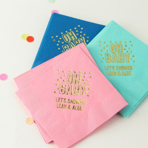 Bright, Bold And Gold Personalized Baby Shower Napkins!
