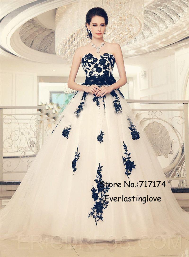 Nuevo diseño hechos a mano De la flor y el bordado negro y Vestido De boda blanco Vestido De Noiva novia Lace Up fajas Vestido De novia en Vestidos de Novia de Bodas y Eventos en AliExpress.com | Alibaba Group